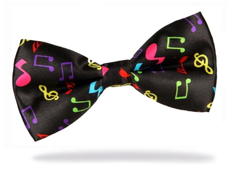 Adjustable Bow Tie Pre-Tied MUSIC NOTES Classic Tuxedo Party wedding