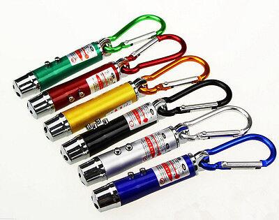LOUS 3 in1 Multifunction Mini Laser Light Pointer LED Torch Flashlight Keychain