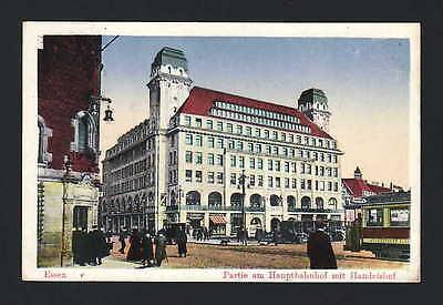 uptbahnhof mit Handelshof, Farb-AK, gelaufen 1913. (Handel Mit Farben)