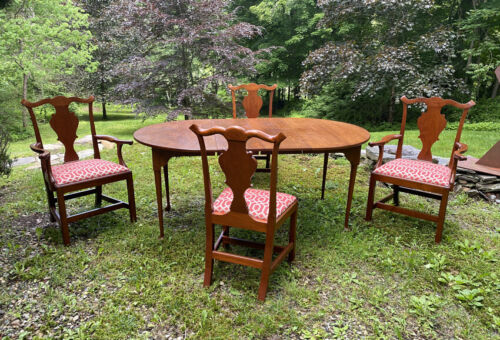 Vintage Eldred Wheeler hand made dining table 4 chairs country Queen Anne style