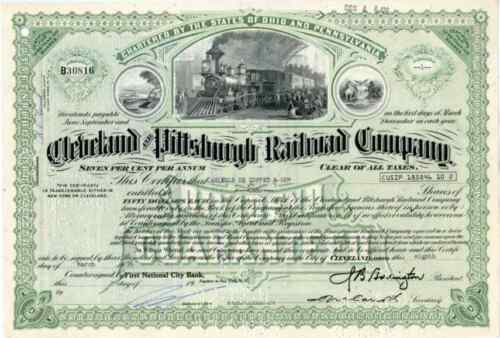 1970s Cleveland & Pittsburgh RR Stock Certificate