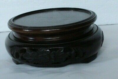 old wooden oriental FRETTED RAISED circular stand