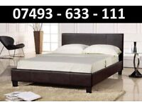 NEW Double leather bed Red Brown + Mattress + memory foam