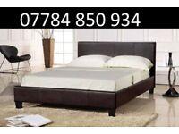 Double leather beds + mattress + memory foam