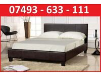 NEW* DOUBLE LEATHER BED + FREE 9 INCH MATTRESS £99-