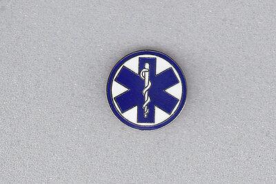 "STAR OF LIFE Collar/Lapel Pin  Blue & White 13/16"" EMS/EMT/Medical/caduceus"