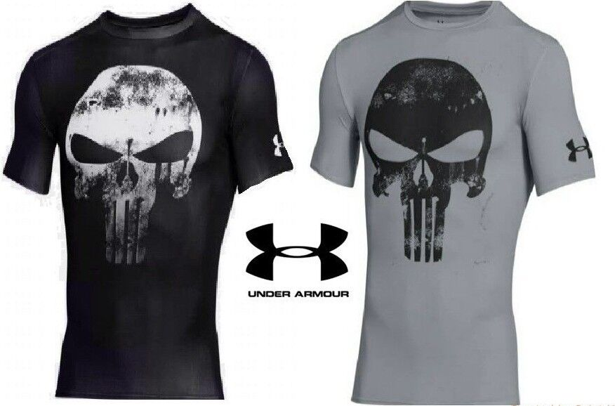 172c975df37bd2b Under Armour Alter Ego Punisher Compression Shirt Black and Gray FREE  Shipping фото