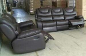 LIMITED STOCK 3PCS BONDED LEATHER RECLINER SOFA SET $999 LOWEST PRICE JUST A FEW SET LEFT