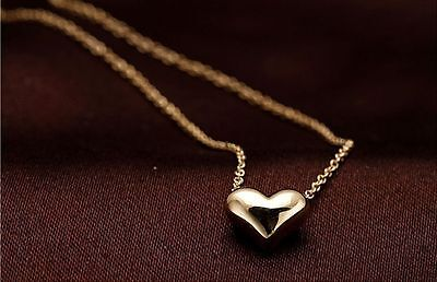Gold Fashion Plated Heart Women Bib Statement Chain Jewelry Pendant Necklace