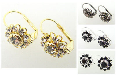 (Austrian Crystal Flower Earrings Crystal or Jet 3 Pairs - Choose Your Finish)