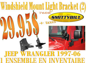 SPÉCIAL- Smittybilt Windshield Light Mount Wrangler 97-06 (7608)