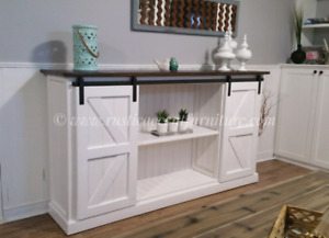 Rustic TV stand (white) with mini barndoors and breadboard top