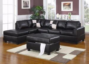 FREE shipping in Montreal! Leather Sectionals with Reversible Chaise! Black, Cream, and Espresso In Stock! NEW!