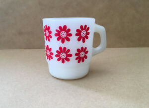 Vintage Anchor Hocking White Coffee Mug with Red Retro Flowers