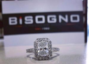 18k White Gold Custom Radiant Diamond Ring, Valued at $16,500!!