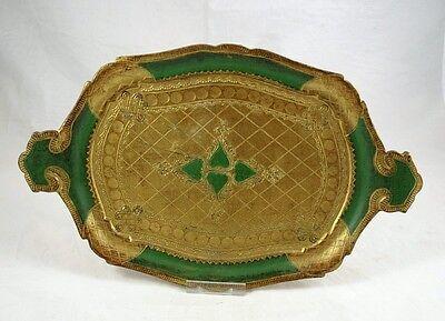 nostalgisches Tablett mit Henkel, Florentiner Stil, grün-gold, ca. 37 x 22 cm