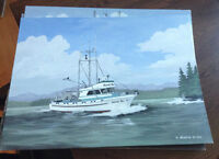 5 Original Eric Nevatie signed Oil Paintings Fishing Boats