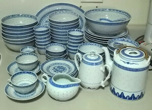 Chinese 84 Piece Vintage Rice Grain Pattern Dishes White & Blue
