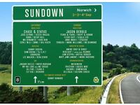 1 weekend ticket for Sundown Festival. 3rd - 4th September. NO CAMPING