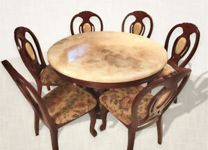 Mahogany Wood Marble Dining Set with 6 Chairs