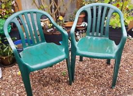 FREE 2 green plastic garden chairs