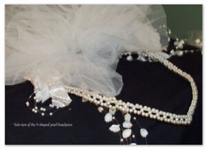 Brand new custom made V -shaped pearl headpiece/pouff and veil