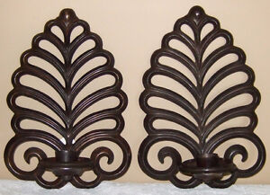 """PAIR OF """"BOMBAY COMPANY"""" BRONZE WALL-MOUNT CANDLE SCONCES"""
