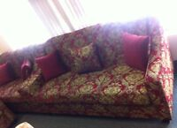 Canadian Made New 3 Piece Sofa Sets in Red or Green Fabric
