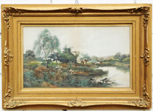 Antique John Horace Hooper watercolor painting, gilded frame