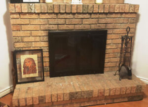Black Fireplace Doors with Spark Screen