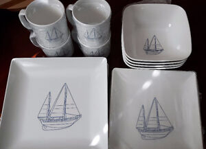 New 16pc Galleyware/Boat Dishes Melamine Bowl/Cup/Plate,Sailboat