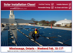 Solar installation class in Mississauga - Weekend of Feb 10th