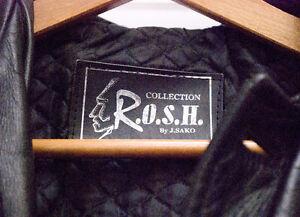 Manteau de cuir noir pour homme grandeur M par ROSH J. Sako Saint-Hyacinthe Québec image 2
