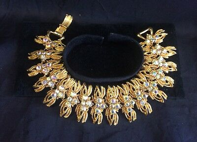 Vintage 70s Costume Jewellery Bracelet Gold Coloured Metal Diamante Glamour!