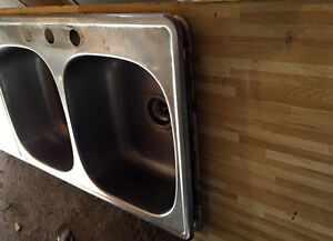Used Double Stainless Steel Sink in Counter top