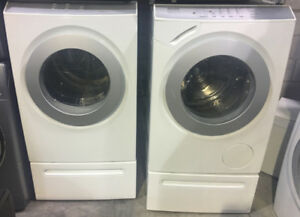 White front load washer & dryer Set pedestals $1499 Miele