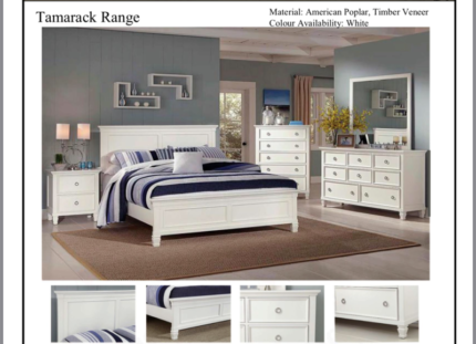 WHITE WOODEN BED FRAME - ...DIRECT FACTORY OUTLET...