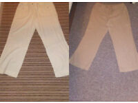2 PAIRS HIGH WAISTED BOOTLEG LADIES TROUSERS WHITE & BEIGE SIZE 14