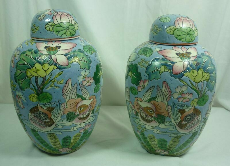 Chinoiserie Famille Blue Qing Pair (2) Large Ginger Jar - China 21C027