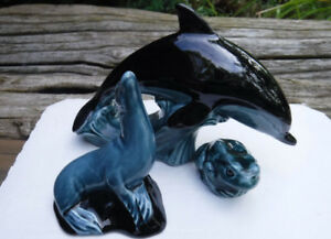 VINTAGE POOLE POTTERY FIGURINES LEAPING DOLPHIN FROG SEAL
