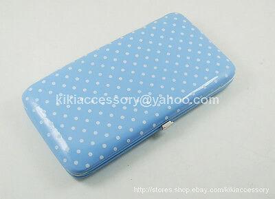Blue  Mini Polka Dot Flat Opera Wallet Clutch Purse Handbag Coin Credit Card Bag