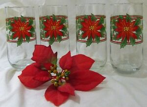 Vintage Christmas Poinsettia & Holly Glasses Drinkware Set of 4 Kitchener / Waterloo Kitchener Area image 4