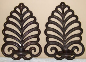 """PAIR OF """"BOMBAY COMPANY"""" BRUSHED BRONZE METAL WALL SCONCES"""