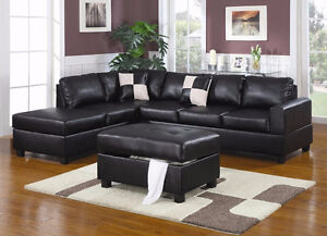Leather Sectional Sofa with Reversible Chaise & FREE DELIVERY! Edmonton Edmonton Area image 3