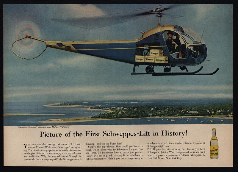 1956 Commander Whitehead Model 47H Helicopter - SCHWEPPES - VINTAGE AD