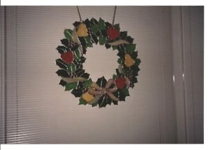 Christmas stained glass wreath