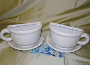 2 pottery 1/2 cups & saucers
