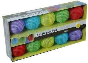 10er LED Laterne Lichterkette Lampion Bunt batteriebetrieben