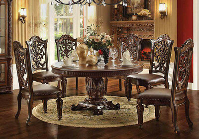 NEW VENDOME ANTIQUED CHERRY FINISH WOOD ROUND FORMAL PEDESTAL DINING TABLE SET  Antique Cherry Finish