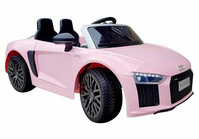 Audi R8 Spyder Kinder Auto Kinder Elektroauto Kinderfahrzeug 12V Ledersitz Rosa